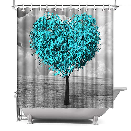 ArtBones Teal Blue Tree Shower Curtain Heart Shape Tree Bath...