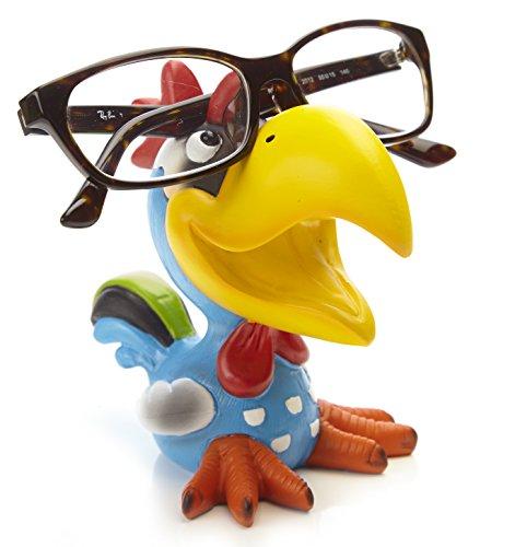 By-Bers Brillenhalter Die_Vögel Design, handbemalt, echt lustig, aus Polyresin, für Kinder und Erwachsene (HahnBlau)