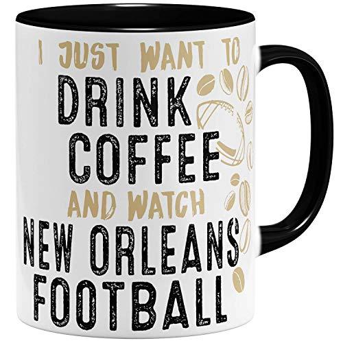 OM3® - New-Orleans-Coffee - Tasse   Keramik Becher   American Football Mug   11oz 325ml   Beidseitig Bedruckt   Schwarz