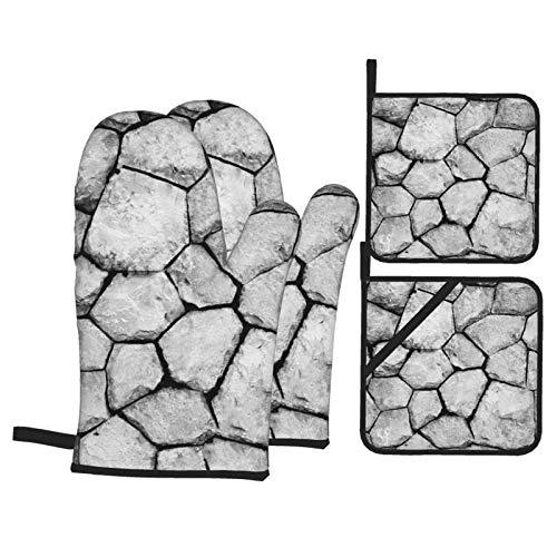 Juego de 4 manoplas y soportes para horno de pared de piedra blanca negra con almohadillas calientes, guantes de microondas resistentes al calor para cocinar a la parrilla, barbacoa, cocina decorativa