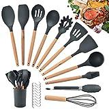 HALOVIE Set di 12 Utensili da Cucina in Silicone Set di Spatole Antiaderenti Mestoli per C...