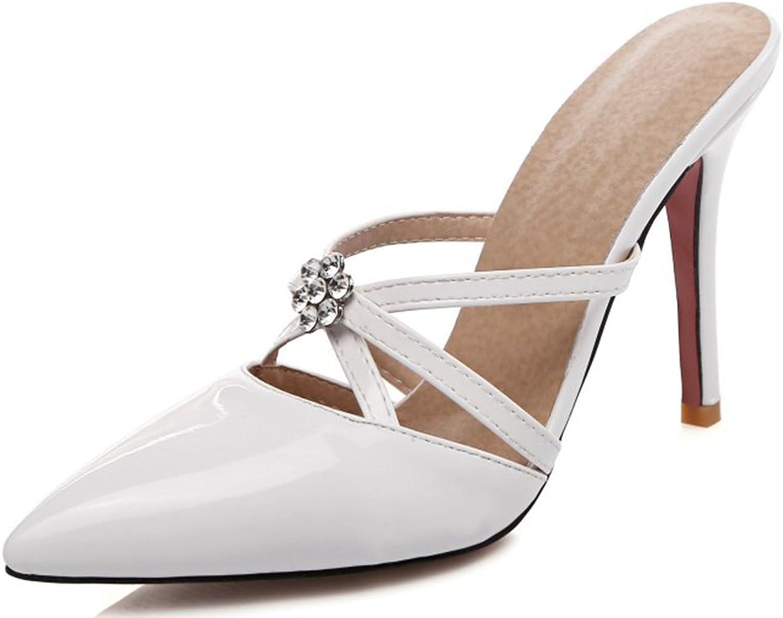 IDIFU Women's Sexy Rhinestones High Heels Stiletto Sandals Closed Pointed Toe Slip On Mules
