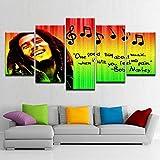 IMXBTQA Impresión En Lienzo 5 Piezas Cuadro sobre Lienzo,5 Piezas Cuadro En Lienzo,5 Piezas Lienzo Decorativo,5 Piezas Lienzo Pintura Mural,Regalo,Decoración Hogareña Resumen De Bob Marley