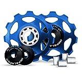 IMPALAPRO Bike Set 2 roldanas, Ruedas o poleas Jockey (11T) Cambio o desviador Trasero Aluminio CNC ultraligeras y Resistentes con rodamiento cerámica para Bici montaña (MTB) o Carretera (Azul)