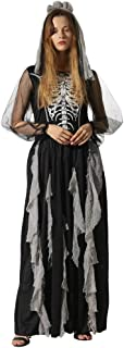 Women Skeleton Zombie Bride Costumes Halloween Party Dress with Hair Band