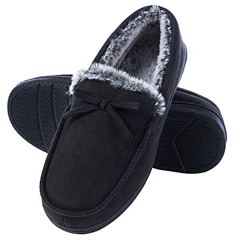 DL Men-Moccasin-Slippers-Indoor-Outdoor, Suede Mens House Slippers with Memory Foam, Faux Fur Lining Bedroom Slippers for Men Non Slip Outsole Black