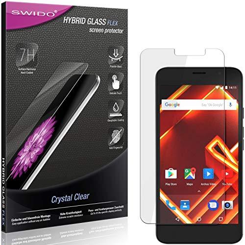SWIDO Panzerglas Schutzfolie kompatibel mit Archos Access 55 Bildschirmschutz-Folie & Glas = biegsames HYBRIDGLAS, splitterfrei, Anti-Fingerprint KLAR - HD-Clear
