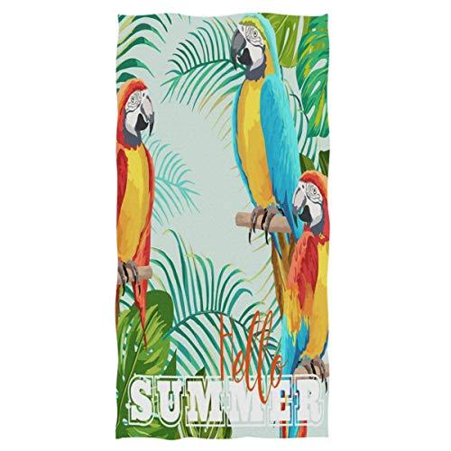 Bert-Collins Parrots Bird Party Tropical Leaves Welcome Summer Toallas de Mano Toalla de baño Absorbente Ultra Suave Grande Toalla de baño Multiusos (40x70cm)