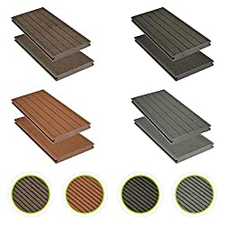 HORI® WPC decking solid brown I complete set incl. 40x60 mm Substructure & clips I Plank length 2,90 m I Area 5 m²