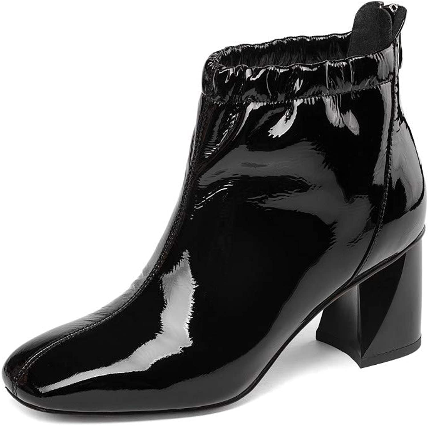 Nine Seven Women's Patent Leather Square Toe Mid Chunky Heel Back Zip Handmade Comfort Dress Ankle Boots