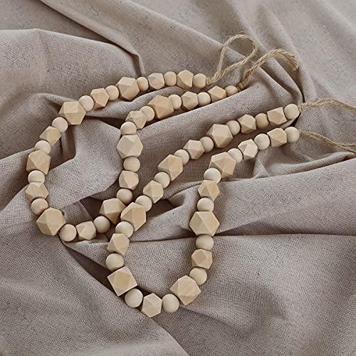 Elifel Wood Curtain Tiebacks Hooks for Drapes, Farmhouse Beaded Curtain Wood tiebacks, Set of 2 Curtain Holdbacks Drapes with Hooks, Curtain tieback Drape tie Back