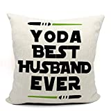 Mancheng-zi Yoda Best Husband Ever Throw Pillow Case, Funny Husband Gift, Husband Birthday Gift, Long Distance Relationship Gifts, 18 x 18 Inch Linen Cushion Cover for Sofa Couch Bed