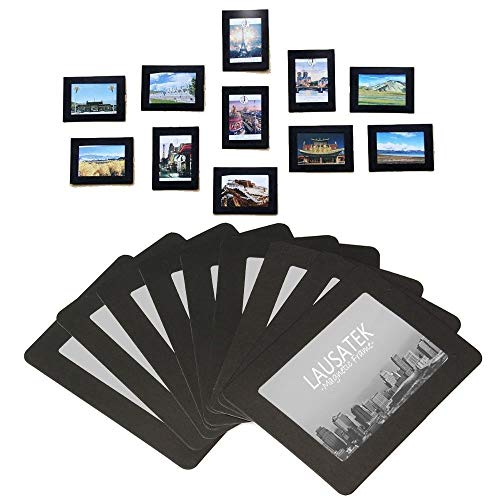 Magnetic Picture Frame, Photo Collage for Refrigerator, Magnet Board Decor, Black, Holds 4x6, 3.5x5, 3x4, 2.5x3.5, 2X3 Inches Photos, 25 Pack
