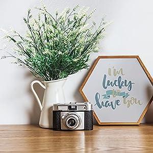 mr.bom 7 bundles artificial lavender flowers outdoor fake flowers for decoration uv resistant no fade faux plastic plants garden porch window box déco(white) silk flower arrangements