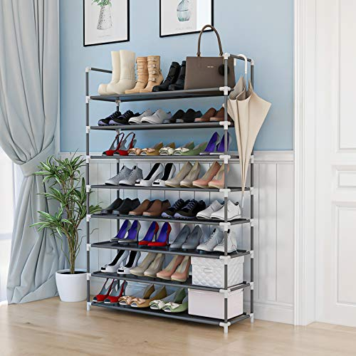 KIKIONLIFE 8 Tiers Shoe Rack Tower Storage Organizer Cabinet Grey