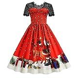 Moda de mujer de manga corta de encaje suelto de Navidad de cintura alta para bodas, vacaciones, fiestas, costuras, falda larga 3, rojo, L