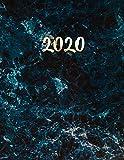 Blauer Marmor und Gold Planer 2020: Monatsplaner 2020 mit Wochenübersicht | Raum für Notizen | Januar - Dezember 2020 Agenda | Ideal für die Schule, Studium und das Büro