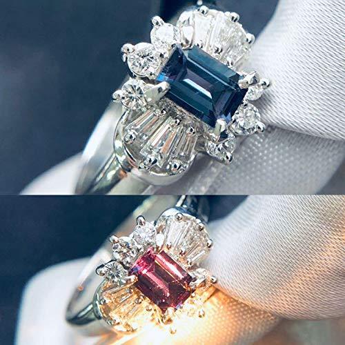 One&Only Jewellery 【鑑別書付】 0.4ct アレキサンドライト 0.3ct ダイヤモンド Pt900 プラチナ リング 指輪