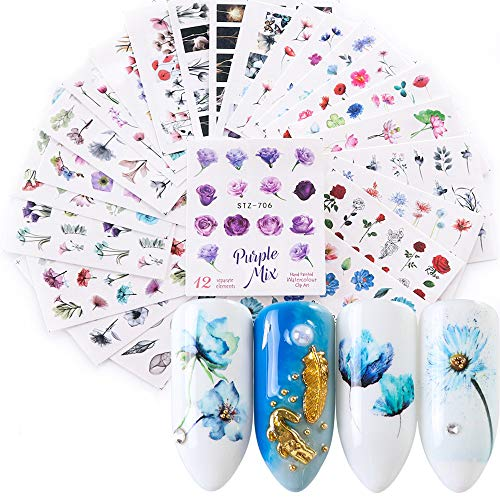 24 Sheets Flower Letter Nail Stickers Water Transfer Nail Design Blossom Flowers Flamingo Nail Decals for Women Fingernail Decorations Nail Art Accessories DIY Manicure Tips Nail Supplies