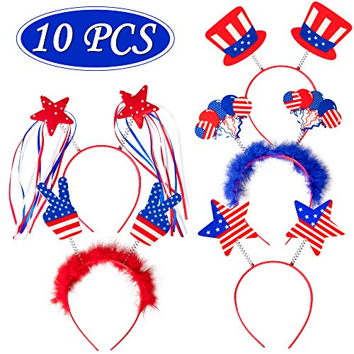 10PCS Patriotic Head Boppers Headband - Star Uncle Sam Hat Balloons- Fourth 4th of July Party Accessories Favors Decorations
