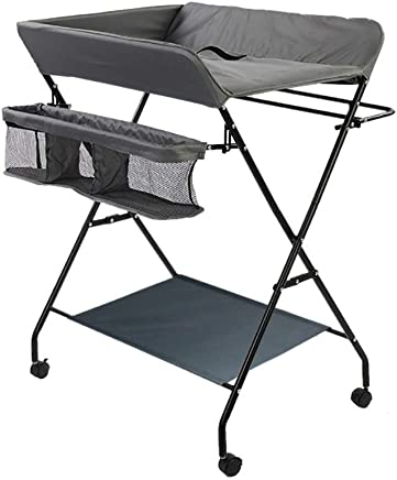 Changing Table Baby with Wheels  Diaper Baby Changing Station Storage Dresser  Foldable Cross Leg Style  Gray