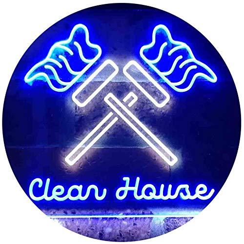 ADV PRO Clean House Helper Services Deco Dual Color LED Enseigne Lumineuse Neon Sign Blanc et Bleu 600 x 400mm st6s64-i3596-wb