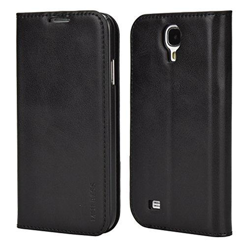 Mulbess Handyhülle für Samsung Galaxy S4 Hülle Leder, Samsung Galaxy S4 Handy Hüllen, Slim Flip Handytasche Schutzhülle für Samsung Galaxy S4 Case, Schwarz
