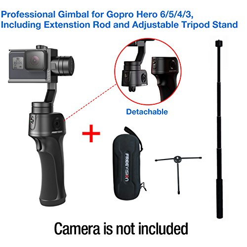 Freevision VILTA-G 3-Axis Stabilized Handheld Gimbal for Gopro HERO 6/5/4/3+/ 3, Best performance,Stable,Versatile,Detachable, Including Extension rod and Tripod stand