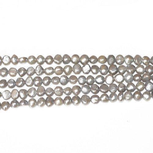 Charming Beads 55+ Argento/Grigio Argilla 6-7mm Patata Barocche Perline FP1678-3