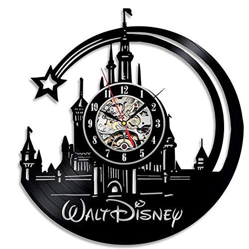 YUN Clock Wanduhr Aus Vinyl Schallplattenuhr Disney Schloss Design-Uhr Wand-Deko Vintage Familien Zimmer Dekoration 30 cm (Lieferzeit: 3-5 Tage)
