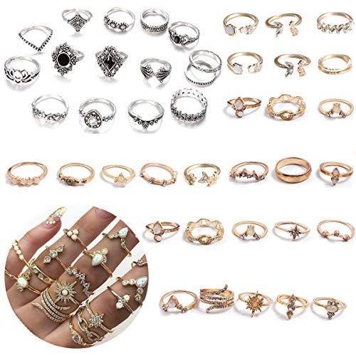 TANGGER 39PCS Set Phalanx Ring Boho Anillos,Retro Anillo Punk Set Mujer Knuckle Rings Oro y Plata,Anillo Piedras Preciosas,Anillo de Diamantes