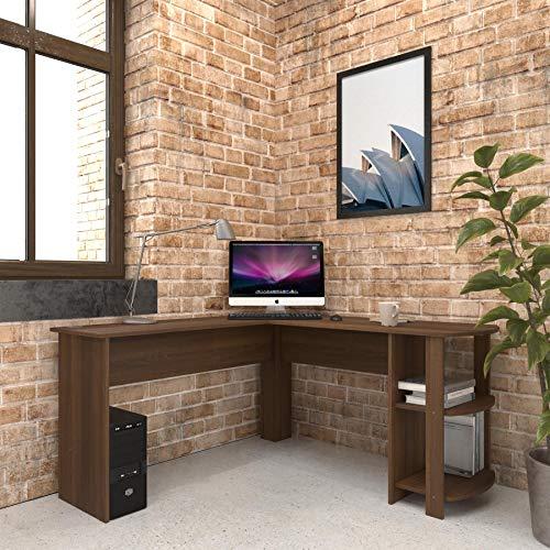 Large Walnut Corner Desk with shelves for Home Office - Piranha Furniture Pacu