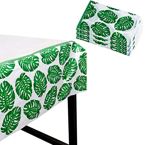 Tropical Party Tablecloth - 3-Pack Disposable Plastic Rectangular Table Covers - Palm Leaves Hawaiian Themed Party Supplies for Kids Birthday, Luau Decorations, Green and White, 54 x 108 Inches