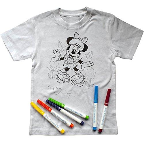 Disney Mädchen T-Shirt zum Ausmalen mit Minnie Mouse-Aufdruck, inkl. Stiften (128-134)