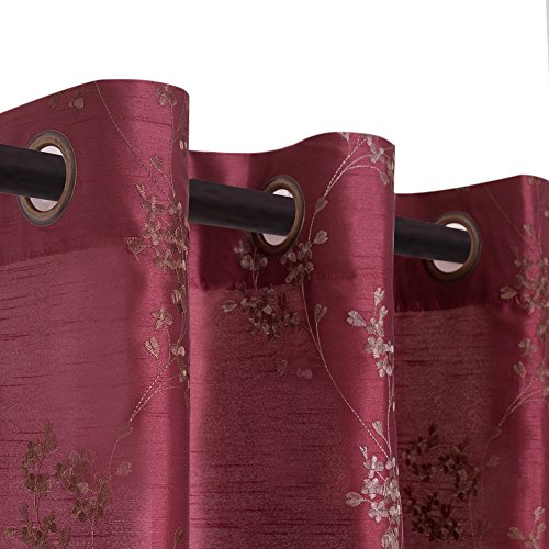 Floral Embroidered Semi Sheer Curtains for Living Room 95 inches Long Embroidery Curtain Panels for Bedroom Faux Silk Window Treatment Set Grommet Top 2 Panels, Burgundy Red