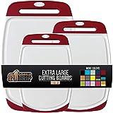 GORILLA GRIP Original Oversized Cutting Board, 3 Piece, BPA Free, Dishwasher Safe, Juice G...