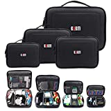 BUBM Large 4pcs/Set Padded Travel Office Cord Cable Gadget Storage Gear Organizer Electronics Accessories Bag Gadget Carry Pouch for iPad Cord Cable Pouch Backpack Organizer Cube