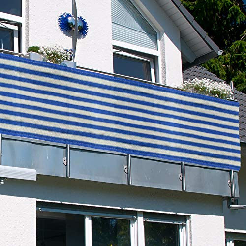 MYNE Balkon Sichtschutz ViewCover 90x500 cm Blau-Weiß Gestreift - inkl. Befestigungsband   UV-Schutz   Windschutz   Leicht Transparent   Wetterfest