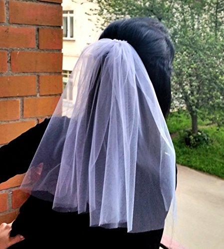 Bachelorette party 1-tier Veil white, short length. Bride veil, accessory, bachelorette veil, hens party veil