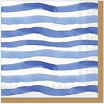 Blue Cocktail Napkins Paper Napkins Decorative Disposable Beach Party Napkins Nautical Stripe Pak 40