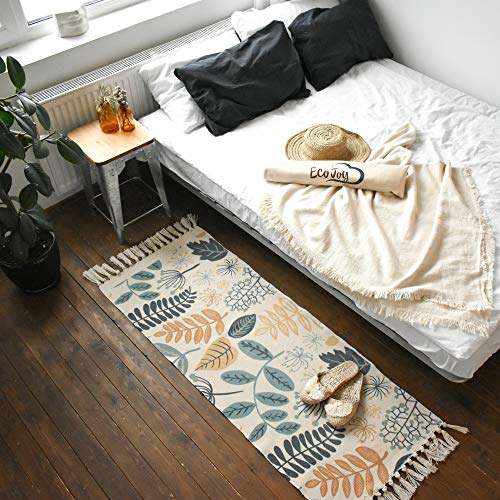 Eco Joy Cotton Woven Area Rug with Tassel - Small Boho Kitchen Runner Bath Mat - Machine Washable Farmhouse Throw Rug - Entry Door Way Modern Rug for Kitchen/Laundry/Doorway/Porch/ Bedroom