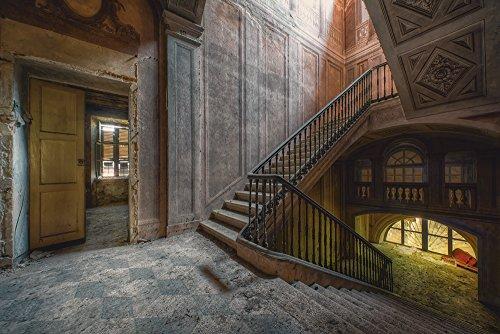 Artland Qualitätsbilder I Bild auf Leinwand Leinwandbilder Wandbilder 60 x 40 cm Architektur Gebäude Foto Bunt C7WO Lost Place Treppe verlassene Orte