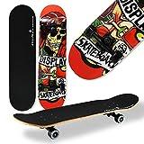 WeLLIFE - Skateboard RGX Tabla Skate (79 x 20 cm en 9 capas de acero diseño cóncavo rueda PU 54 x 36 mm Super Smooth para niños jóvenes adultos Rodamiento ABEC-7RS (410)