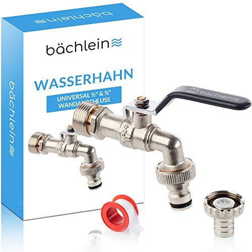 Bächlein Universal Wasserhahn für den Garten [anthrazit] inkl. 2 Schlauchanschlüssen - edler Kugelhahn mit 1/2 und 3/4 Zoll Anschluss, Auslaufhahn aussen