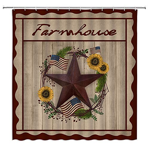 BOYIAN Texas Star Farmhouse Shower Curtain Primitive Barn American Flag Wreath Wooden Sunflower Pine Branches Country Patriotic Farm Wine Fabric Bath Curtains Bathroom Polyester with Hooks 70x70Inch
