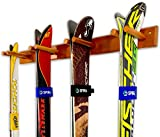 StoreYourBoard Timber Ski Wall Rack, 4 Pairs of Skis Storage, Wood Home and Garage Mount System, Cherry Wood