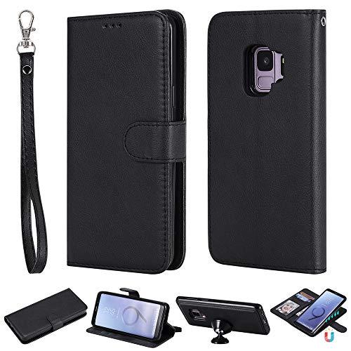 Capa carteira XYX para Galaxy S9, 2 em 1 de couro PU carteira com capa fina destacável com suporte magnético para carro para Samsung Galaxy S9 (Preto)