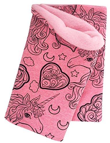 Wollhuhn Warmes Halstuch, Schlupfschal, Schal Einhorn UNICORN BEAUTY pink/rosa für Mädchen, Innenseite aus Fleece, 20180315