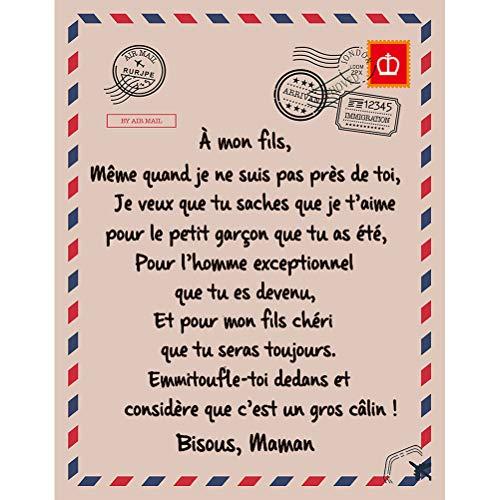 Wopohy Manta de franela con mensaje en francés a mi hija, para el invierno, cálida y suave, regalo para el sofá o la cama del hogar, regalo de cumpleaños o Año Nuevo.