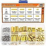 HELIFOUNER 160 Pieces M3 Male Female Hex Brass Spacer Standoff Screw Nut Assortment Kit